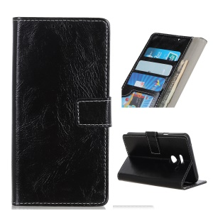 Retro Crazy Horse PU Leather Wallet Stand Cellphone Cover for LG G8 ThinQ - Black
