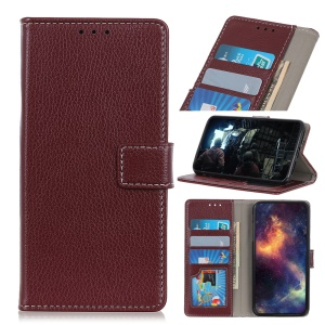 Litchi Skin Wallet Leather Stand Case for LG V50 ThinQ 5G - Brown