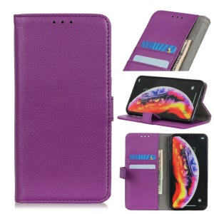 Litchi Skin Wallet Leather Stand Case for LG G8 ThinQ - Purple
