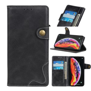 S Shape Textured Stand Wallet Leather Cover for LG G8 ThinQ - Black