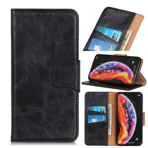 Crazy Horse Split Leather Wallet Stand Phone Case for LG V50 ThinQ 5G - Black