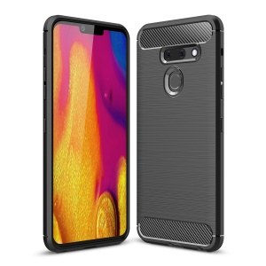 Carbon Fibre Brushed TPU Shell Case for LG G8 ThinQ - Black