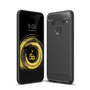 Carbon Fiber Brushed TPU Shell Case for LG V50 ThinQ 5G - Black