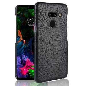 Crocodile Texture PU Leather Coated PC Case Accessory for LG G8 ThinQ - Black