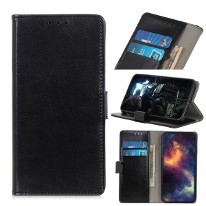 Crazy Horse Leather Wallet Stand Case for LG G8s ThinQ - Black