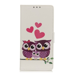 Pattern Printing PU Leather Protection Mobile Phone Cover Shell for LG Q60 - Owl Family