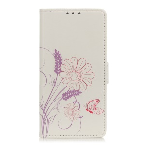 Pattern Printing PU Leather Protection Mobile Phone Cover Shell for LG K50 - Butterfly and Flower