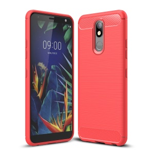 Carbon Fiber Brushed TPU Shell Case for LG K40 / K12 Plus - Red