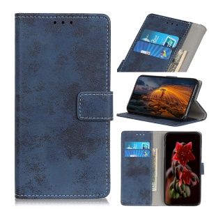 Vintage Style Leather Wallet Mobile Phone Case for LG G8s ThinQ - Blue