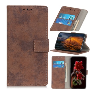 Vintage Style Wallet PU Leather Stand Protective Case for LG Q60 - Brown