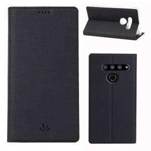 VILI DMX Cross Texture Stand Leather Card Holder Case for LG V50 ThinQ 5G - Black