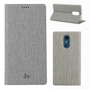 VILI DMX Cross Texture Stand Leather Card Holder Case for LG Q9 / G7 Fit - Grey