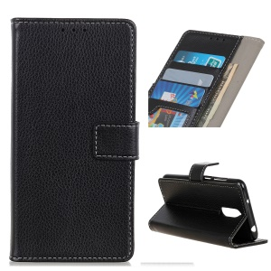 Litchi Grain Leather Cover with Wallet Stand for LG Stylo 5 - Black