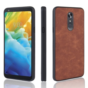 PU Leather Coated TPU + PC Back Phone Casing for LG Stylo 5 - Brown
