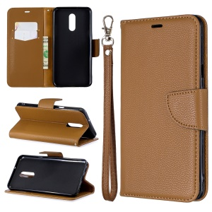 Litchi Skin Leather Wallet Phone Cover Stand Case for LG Stylo 5 - Brown