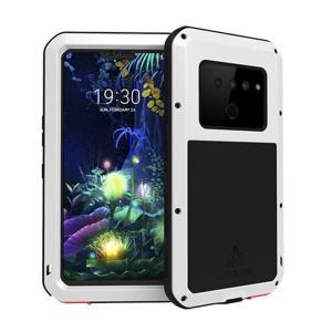 LOVE MEI Dust-proof Shock-proof Splash-proof Defender Phone Case with Tempered Glass for LG V50 ThinQ 5G - White