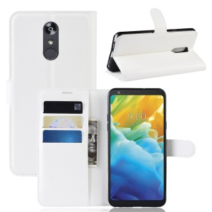 Litchi Skin Wallet Leather Stand Casing for LG Stylo 5 - White