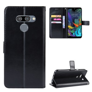 Crazy Horse Leather Wallet Case for LG K50/Q60 - Black