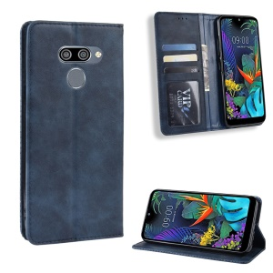 Vintage Style Leather Wallet Case for LG K50/Q60 - Blue