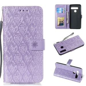 Imprint Leaf Leather Wallet Case for LG G8 ThinQ - Purple