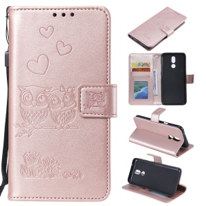 Imprinted Flower Owl Leather Phone Case for LG K40 / K12 Plus - Rose Gold