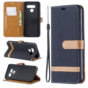 Two-tone Jean Cloth PU Leather Flip Phone Case for LG K50 / Q60 - Black