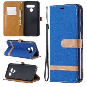 Two-tone Jean Cloth PU Leather Flip Phone Case for LG K50 / Q60 - Baby Blue
