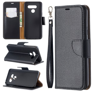 Litchi Texture PU Leather Phone Cover Case for LG K50 / Q60 - Black