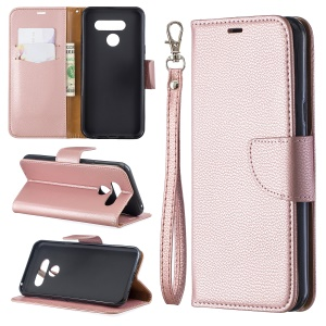 Litchi Texture PU Leather Phone Cover Case for LG K50 / Q60 - Rose Gold