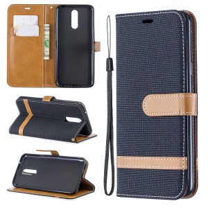 Jeans Cloth Wallet Stand Leather Shell for LG K40/K12+/K12 Plus - Black