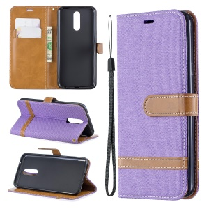 Jeans Cloth Wallet Stand Leather Shell for LG K40/K12+/K12 Plus - Purple