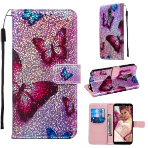 Pattern Printing Glitter Sequins Leather Wallet Phone Case for LG K40/K12+/K12 Plus - Butterfly