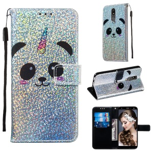 Pattern Printing Glitter Sequins Leather Wallet Phone Case for LG K40/K12+/K12 Plus - Panda