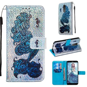 Pattern Printing Glitter Sequins Leather Wallet Phone Case for LG K40/K12+/K12 Plus - Mermaid