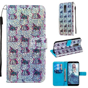 Pattern Printing Glitter Sequins Leather Wallet Phone Case for LG K40/K12+/K12 Plus - Unicorns