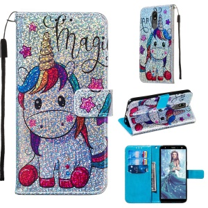 Pattern Printing Glitter Sequins Leather Wallet Phone Case for LG K40/K12+/K12 Plus - Unicorn and Star