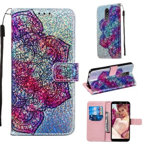 Pattern Printing Glitter Sequins Leather Wallet Phone Case for LG K40/K12+/K12 Plus - Mandala Flower