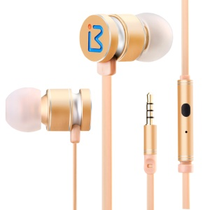 BENWIS EPM-200 Metallic Mega Bass Stereo In-ear Earphone with Remote Control for iPhone Samsung - Gold