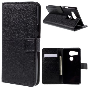 Lychee Texture Flip Stand Wallet Leather Case for LG Nexus 5X - Black