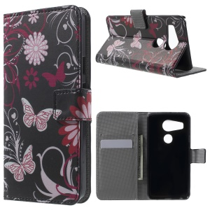 Wallet Leather Stand Case for LG Nexus 5X - Butterfly Flowers