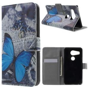 PU Leather Card Holder Case for LG Nexus 5X - Blue Butterfly