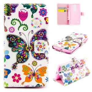 Embossed Stand Leather Cover for LG Leon H320 / Leon 4G LTE H340N - Colorful Butterflies Flowers