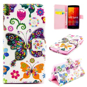 Embossed Flip Leather Wallet Cover for LG Spirit H422 H440Y H440N H420 - Colorful Butterflies Flowers