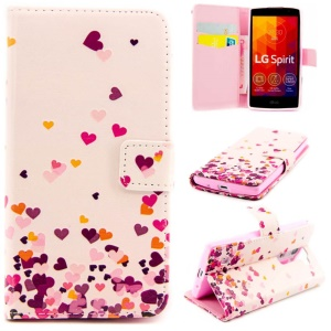 Embossed Flip Leather Wallet Shell for LG Spirit H422 H440Y H440N H420 - Colorful Hearts