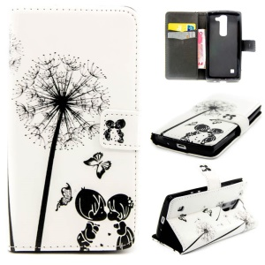Embossed Leather Wallet Case for LG Magna H502F H500F / G4c H525N - Dandelion & Butterflies & Lovers