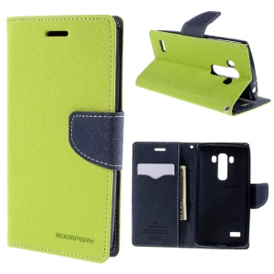 MERCURY GOOSPERY Diary Flip Leather Stand Cover for LG G4 Beat / G4S H735 - Green