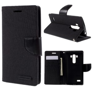 MERCURY GOOSPERY Canvas Diary Leather Wallet Case for LG G4 Beat / G4S H735 - Black