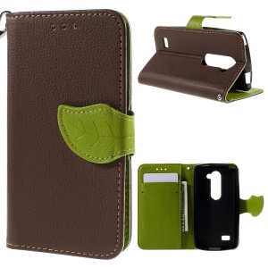 Litchi Grain Leaf Leather Card Slots Stand Cover for LG Leon H320 / Leon 4G LTE H340N - Brown