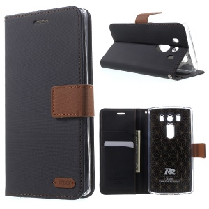 ROAR KOREA Diary Wallet Twill Leather Case for LG V10 with Stand - Black