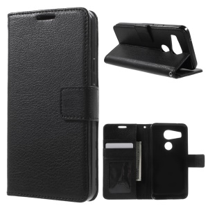 Lychee Card Slots Leather Cover for LG Nexus 5X with Stand - Black